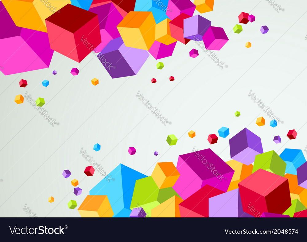 Colorful cubic bright background vector | Price: 1 Credit (USD $1)