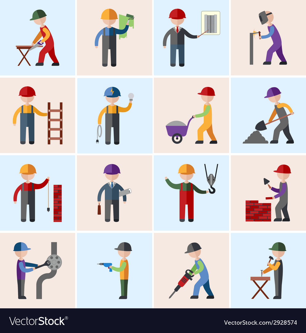 Construction worker icons flat vector | Price: 1 Credit (USD $1)