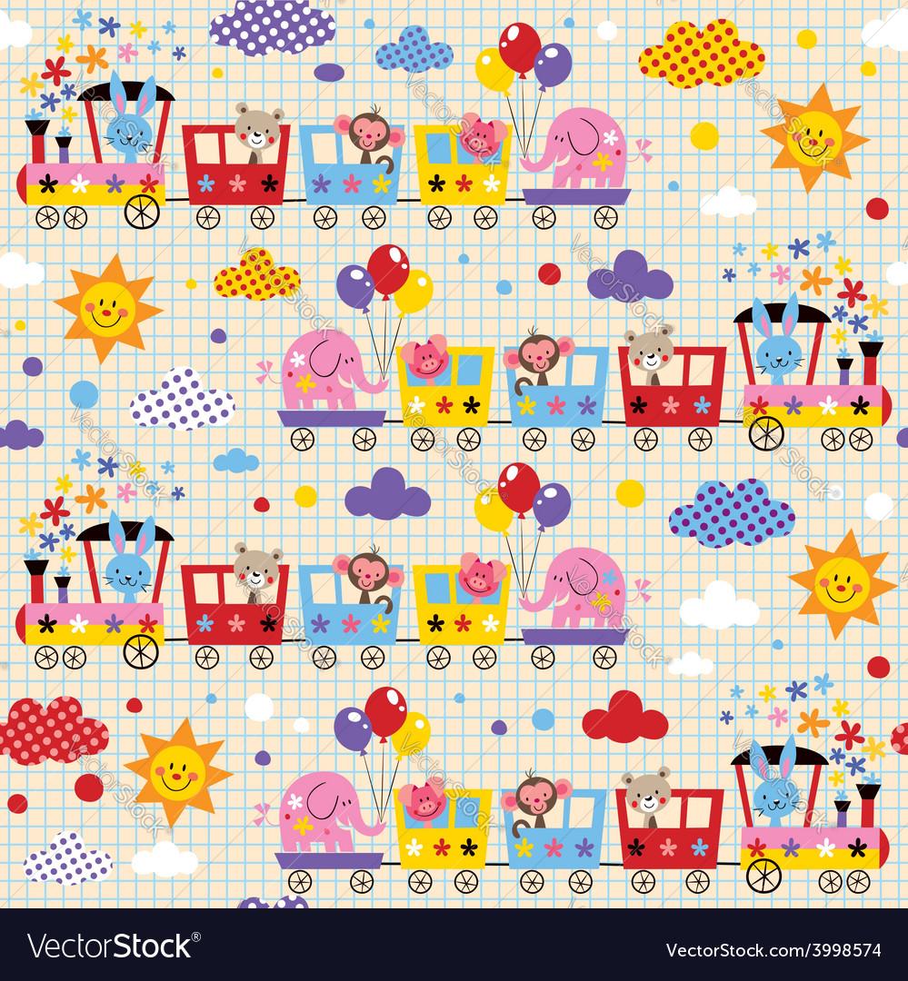 Cute animal train kids pattern vector   Price: 1 Credit (USD $1)
