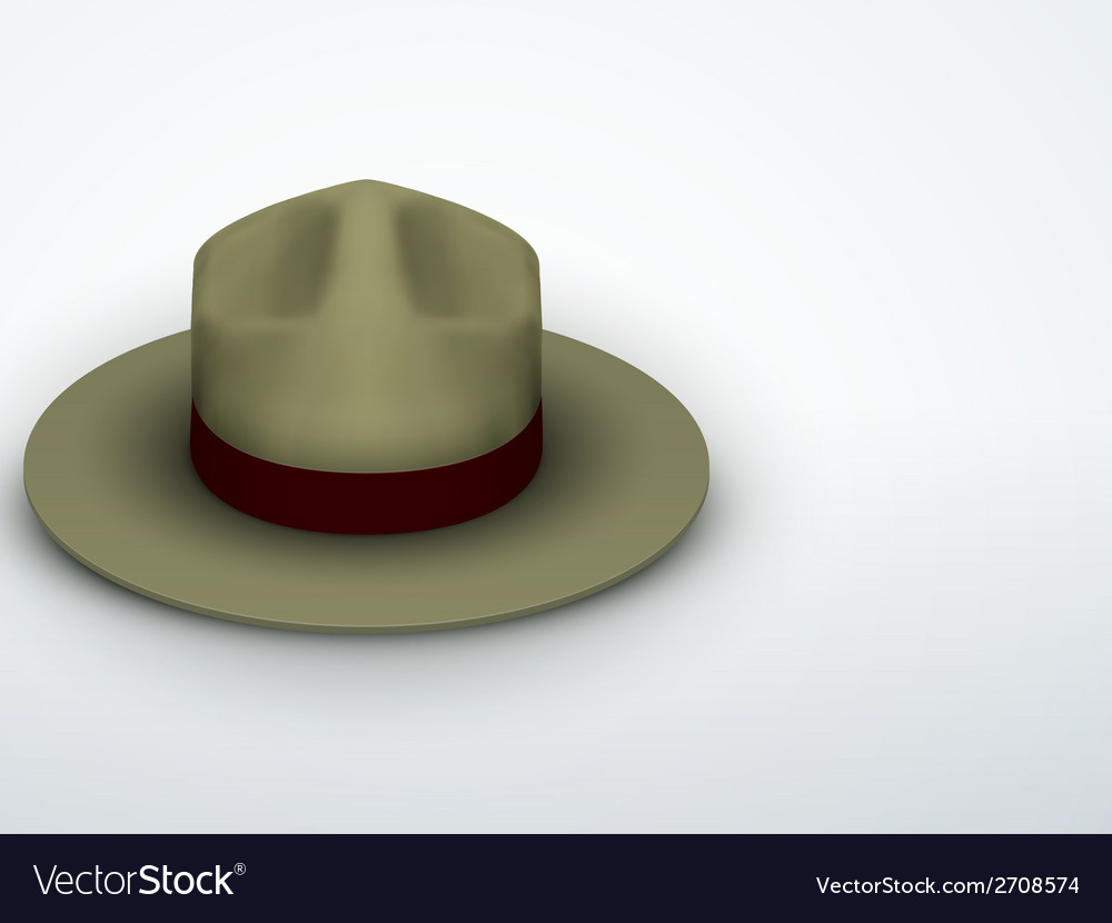 Light background ranger hat khaki green color vector | Price: 1 Credit (USD $1)