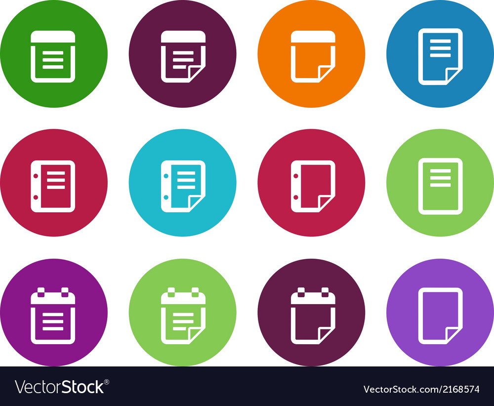 Notepad and sticky note circle icon set vector | Price: 1 Credit (USD $1)