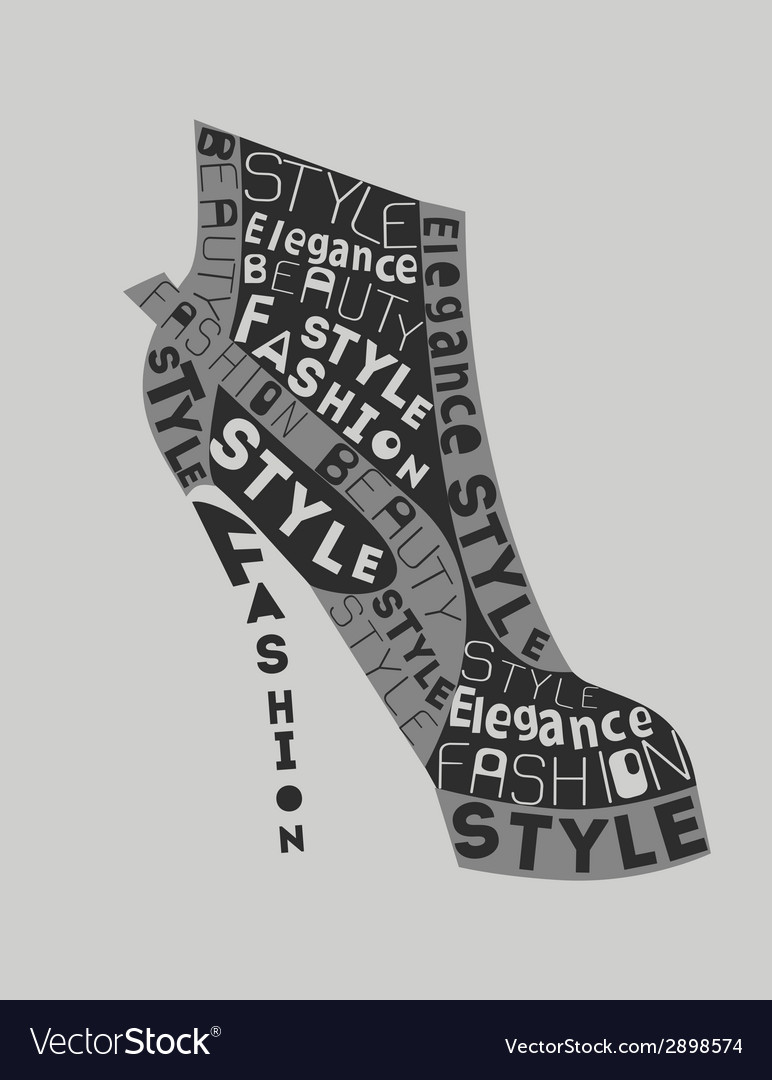 Shoe from words vector | Price: 1 Credit (USD $1)