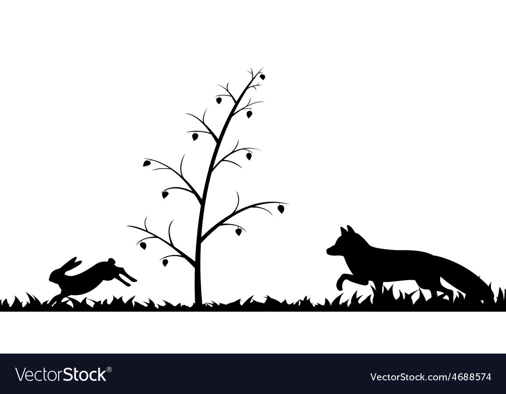 Silhouette of fox and hare in the grass vector | Price: 1 Credit (USD $1)