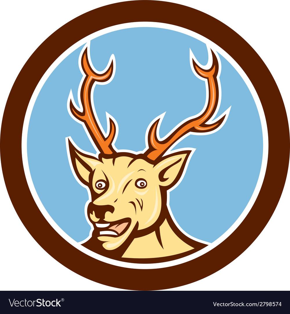 Stag deer happy head circle cartoon vector | Price: 1 Credit (USD $1)
