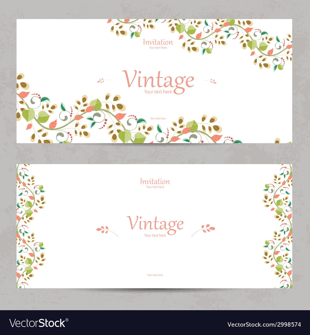 Vintage floral invitation cards for your design vector | Price: 1 Credit (USD $1)