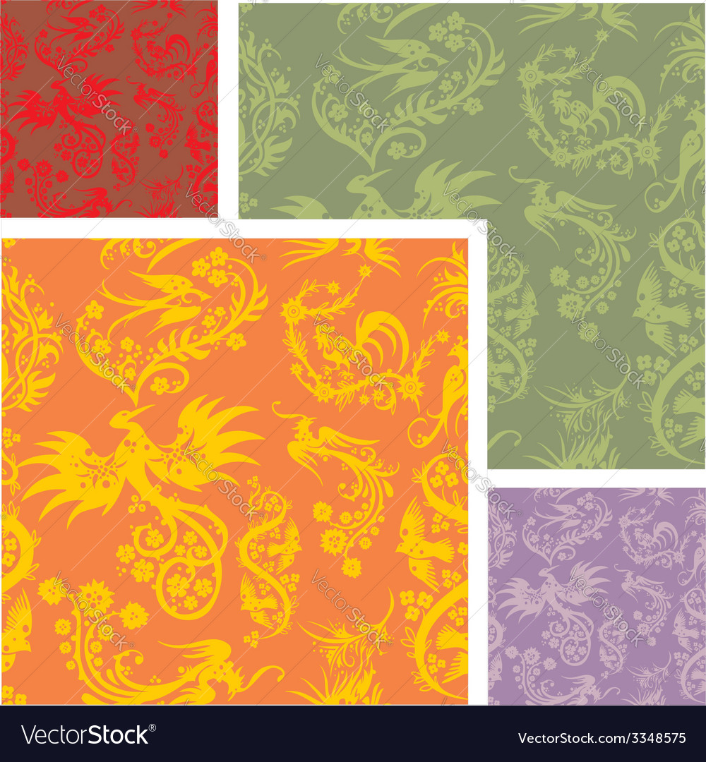 Chinese floral - seamless pattern set vector   Price: 1 Credit (USD $1)