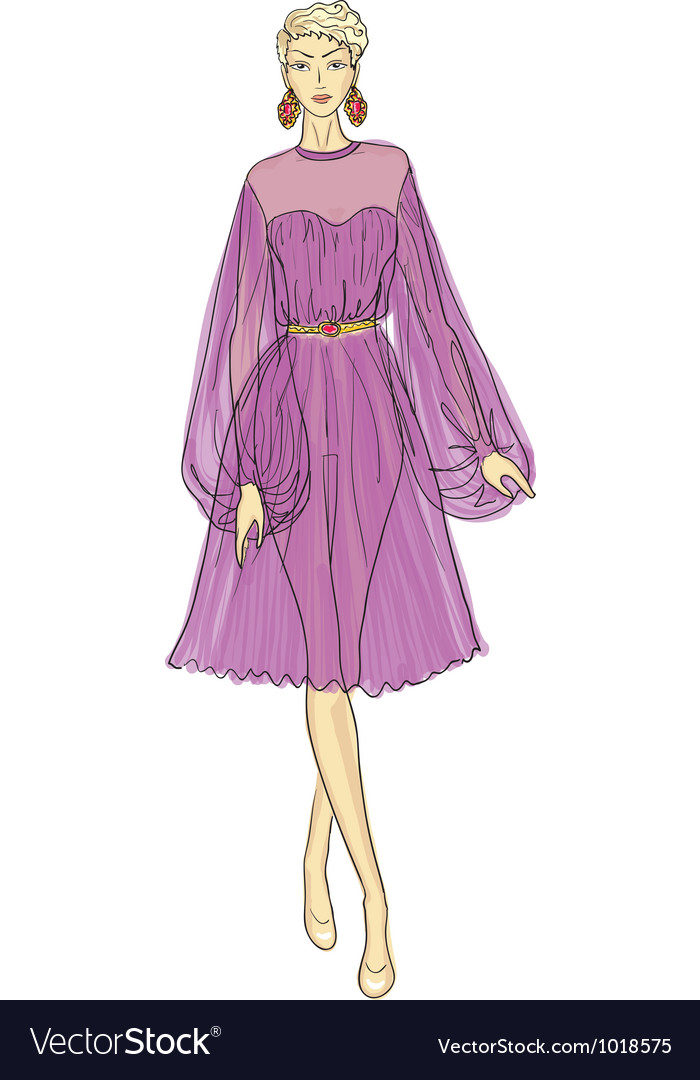 Fashion sketch of woman in chiffon dress vector | Price: 1 Credit (USD $1)