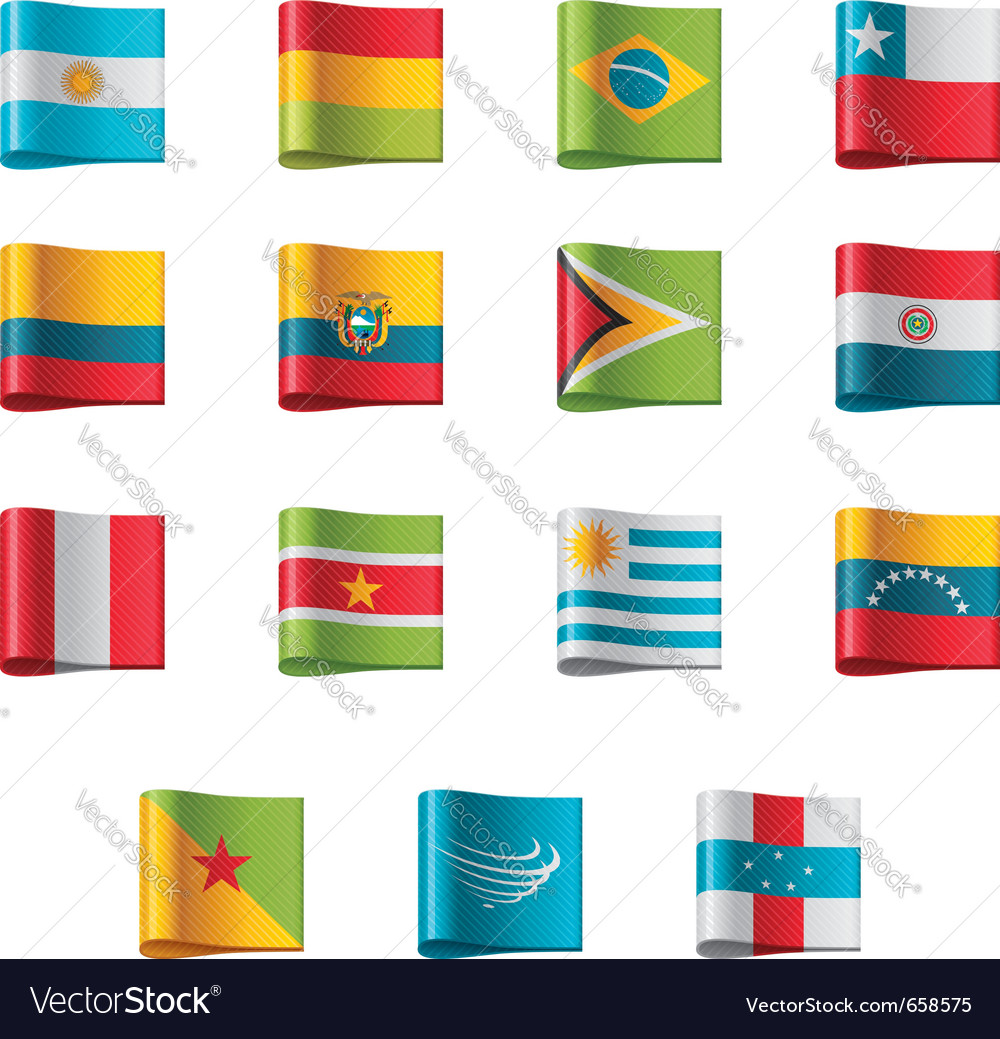 Flags - south america vector | Price: 1 Credit (USD $1)
