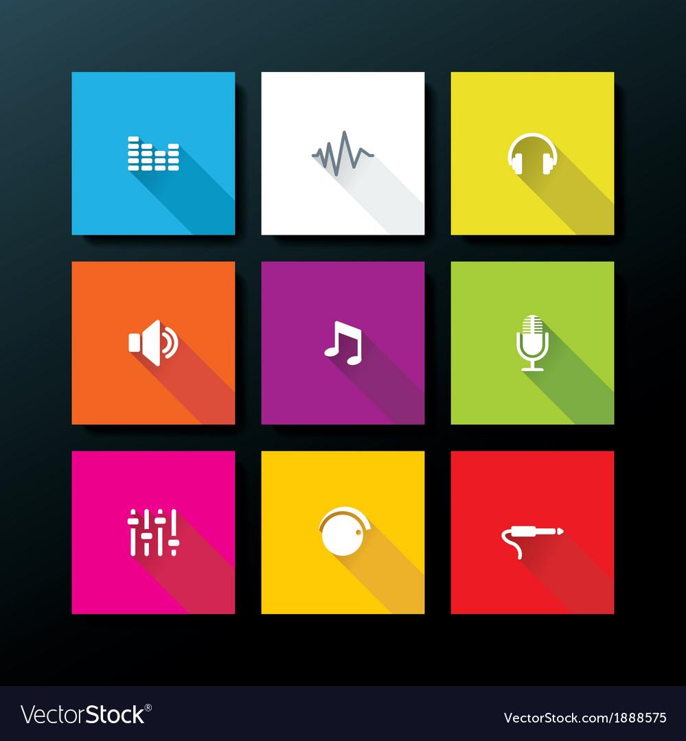 Flat audio icon set vector   Price: 1 Credit (USD $1)