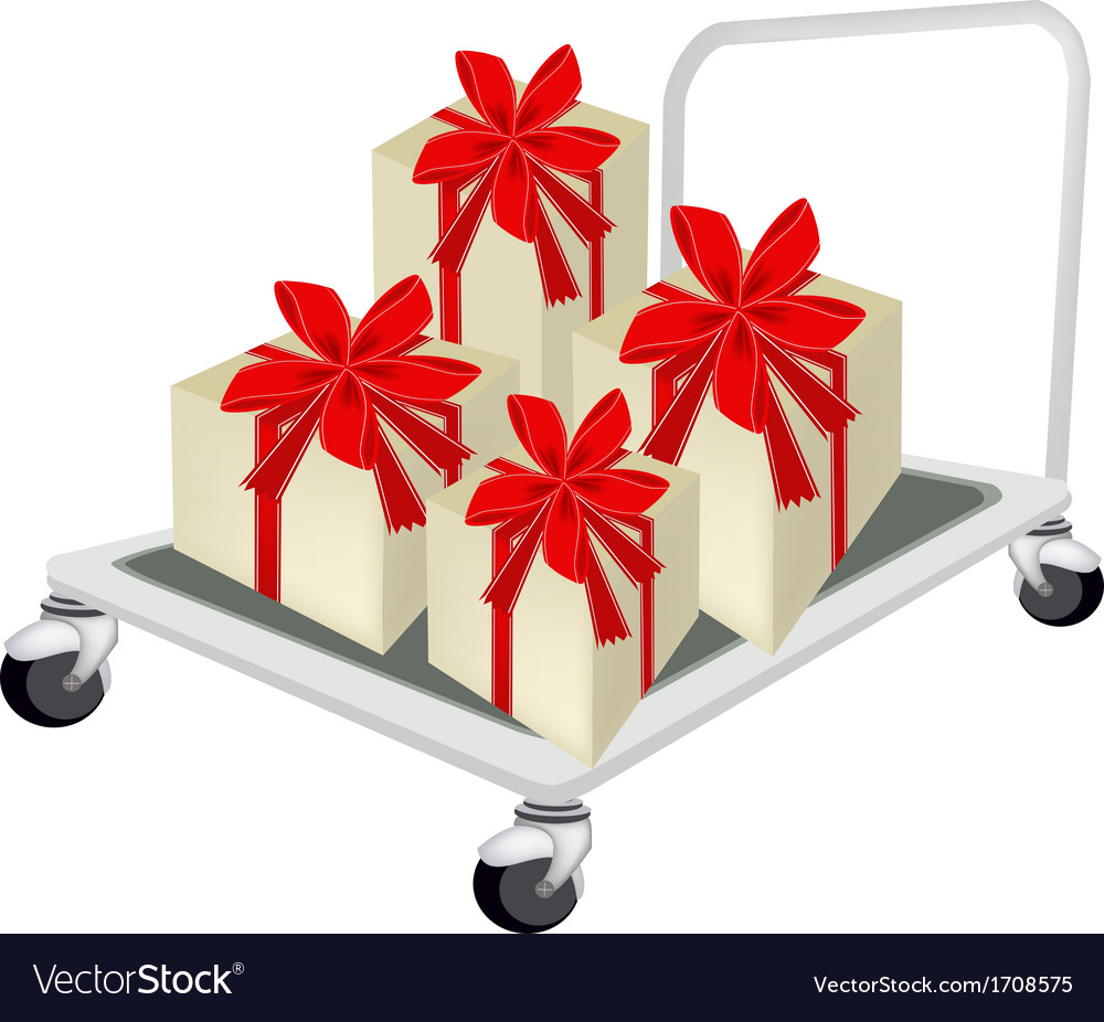 Hand truck loading a lovely gift box vector | Price: 1 Credit (USD $1)