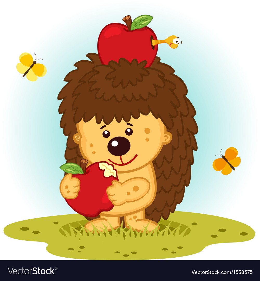 Hedgehog with apples vector | Price: 3 Credit (USD $3)