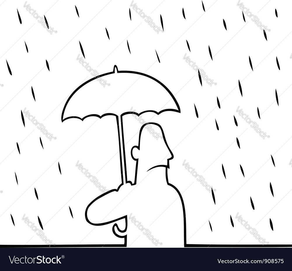 Man with umbrella in rain vector | Price: 1 Credit (USD $1)