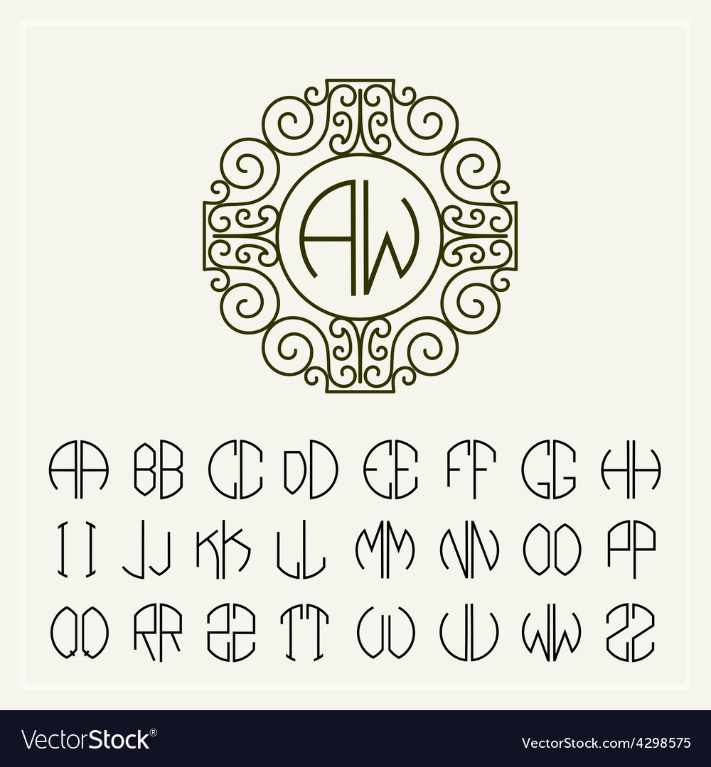 Set template to create monograms of two letters vector | Price: 1 Credit (USD $1)