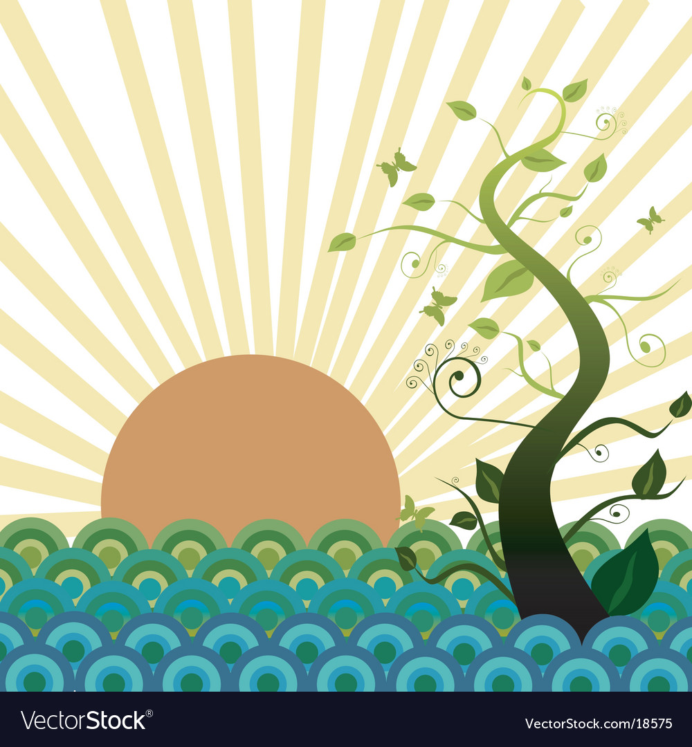 Sun sea and nature vector | Price: 1 Credit (USD $1)
