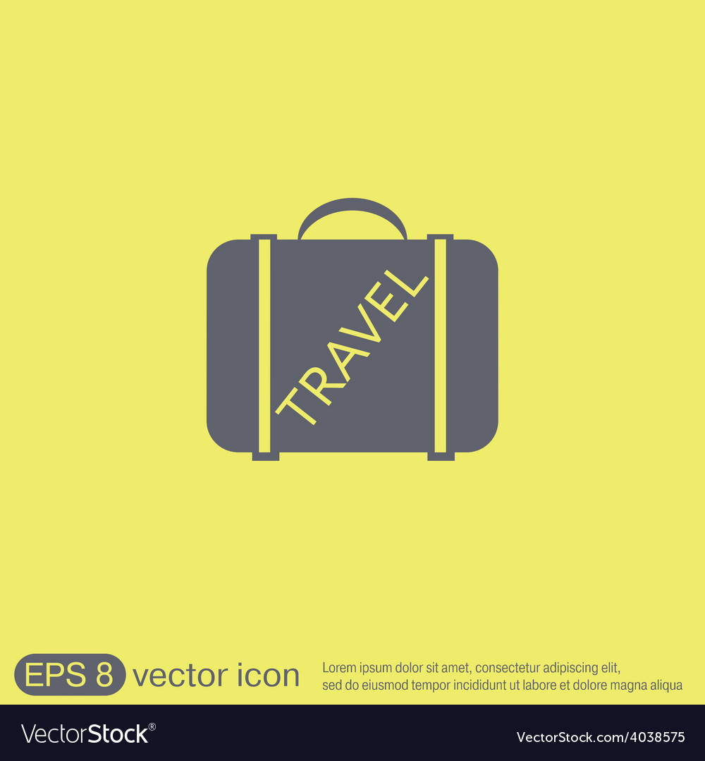 Symbol of a suitcase for travel travel bag vector   Price: 1 Credit (USD $1)