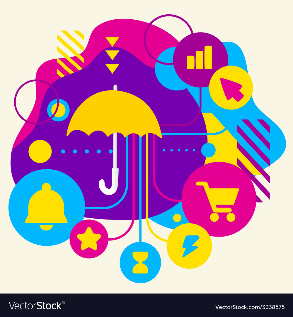 Umbrella on abstract colorful spotted background vector | Price: 3 Credit (USD $3)