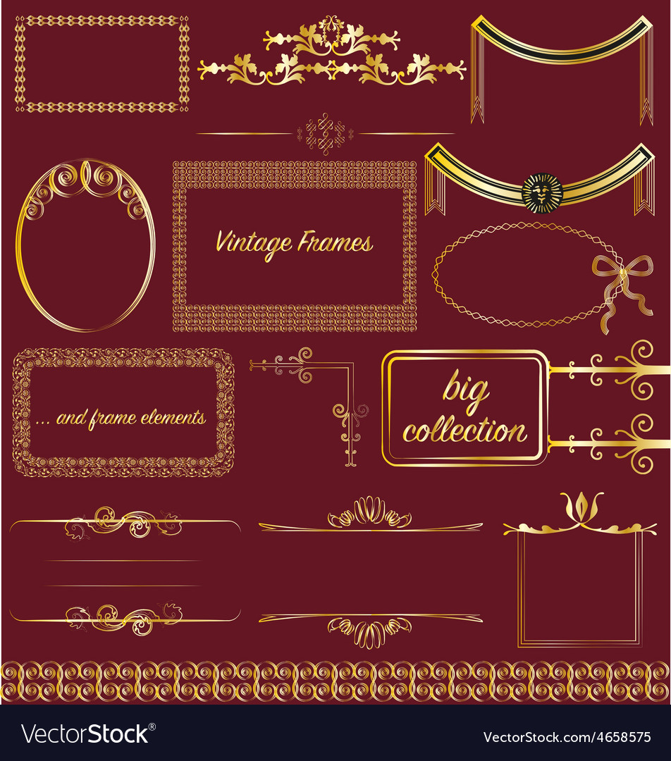 Vintage frames collection gold victorian borders vector   Price: 3 Credit (USD $3)