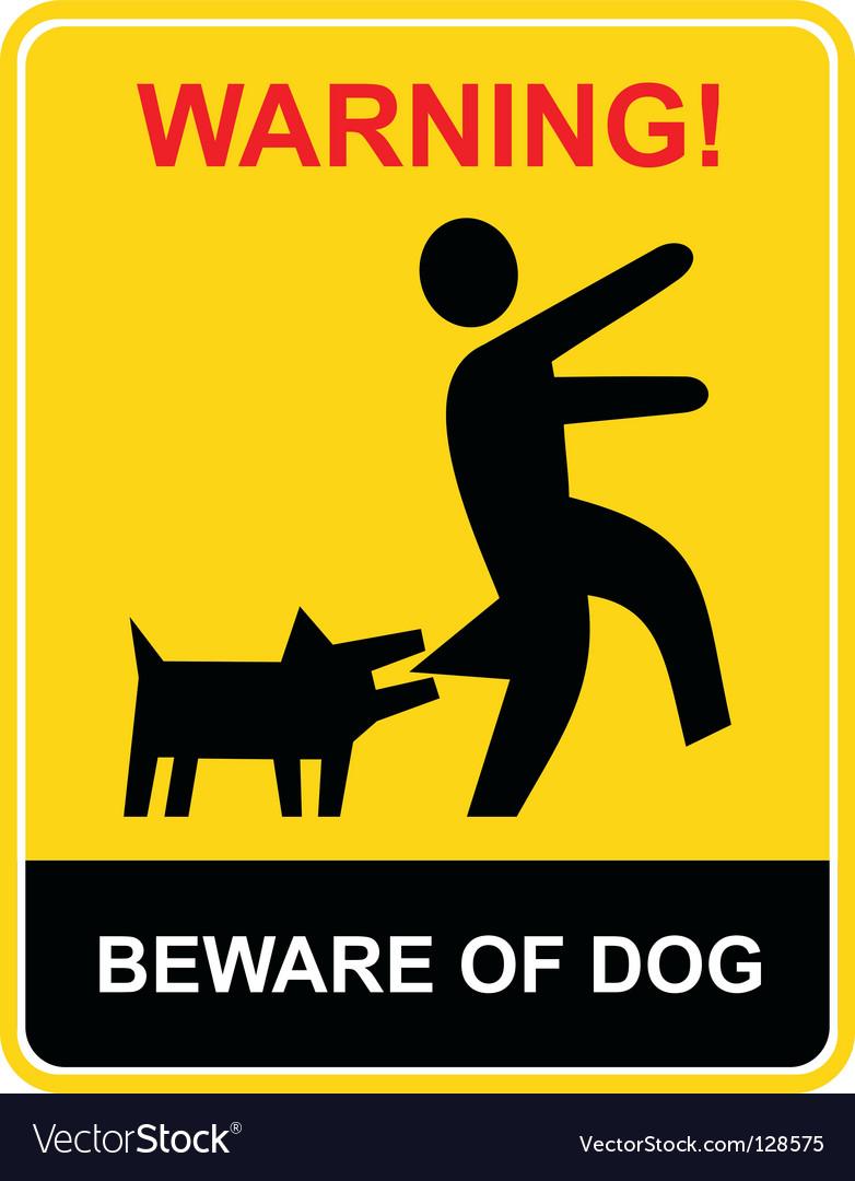 Warning beware of dog vector | Price: 1 Credit (USD $1)