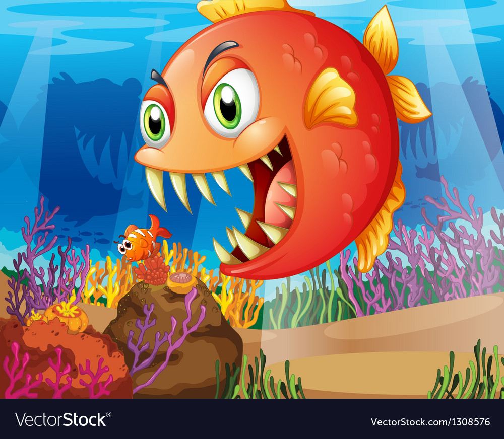 A predator and a prey under the sea vector | Price: 1 Credit (USD $1)