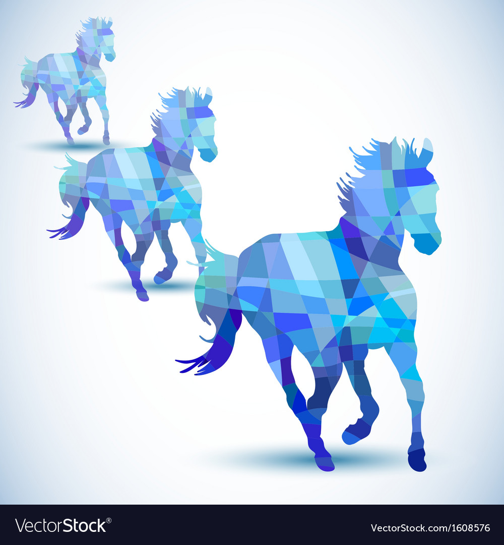 Blue abstract horse of geometric shapes vector | Price: 1 Credit (USD $1)