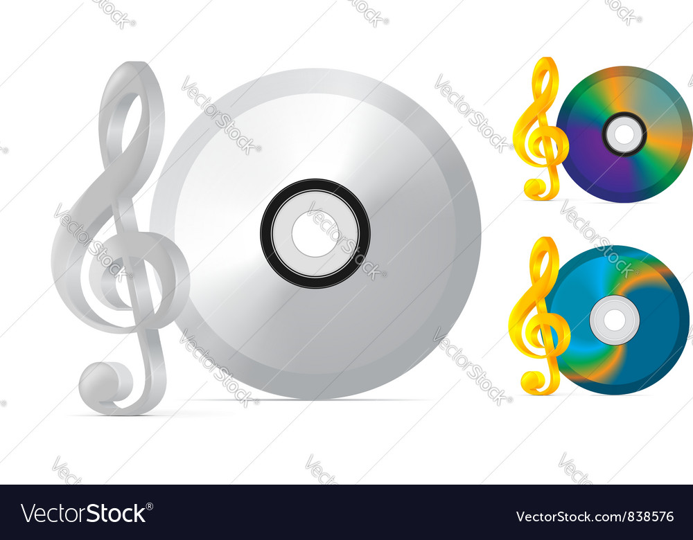 Compact disc with treble clef vector | Price: 1 Credit (USD $1)