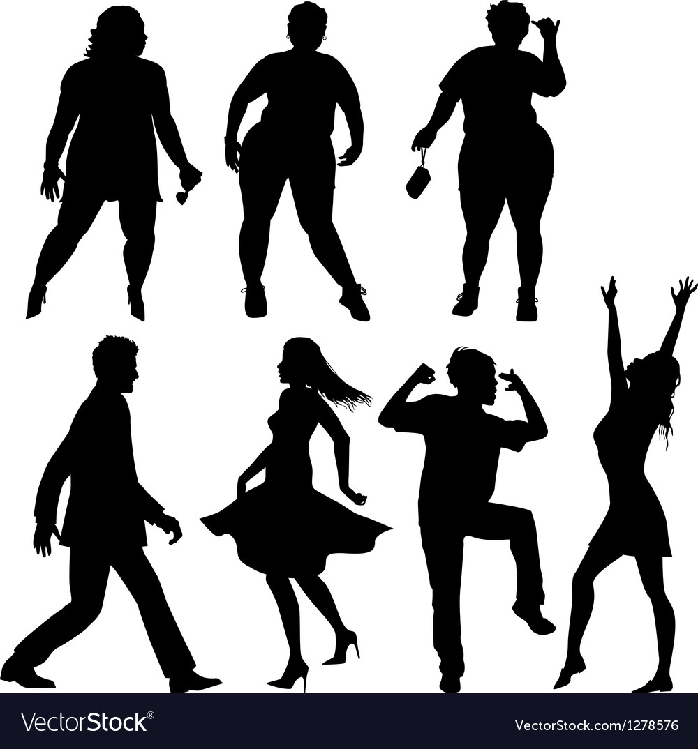 Dancing people - few human silhouettes vector | Price: 1 Credit (USD $1)