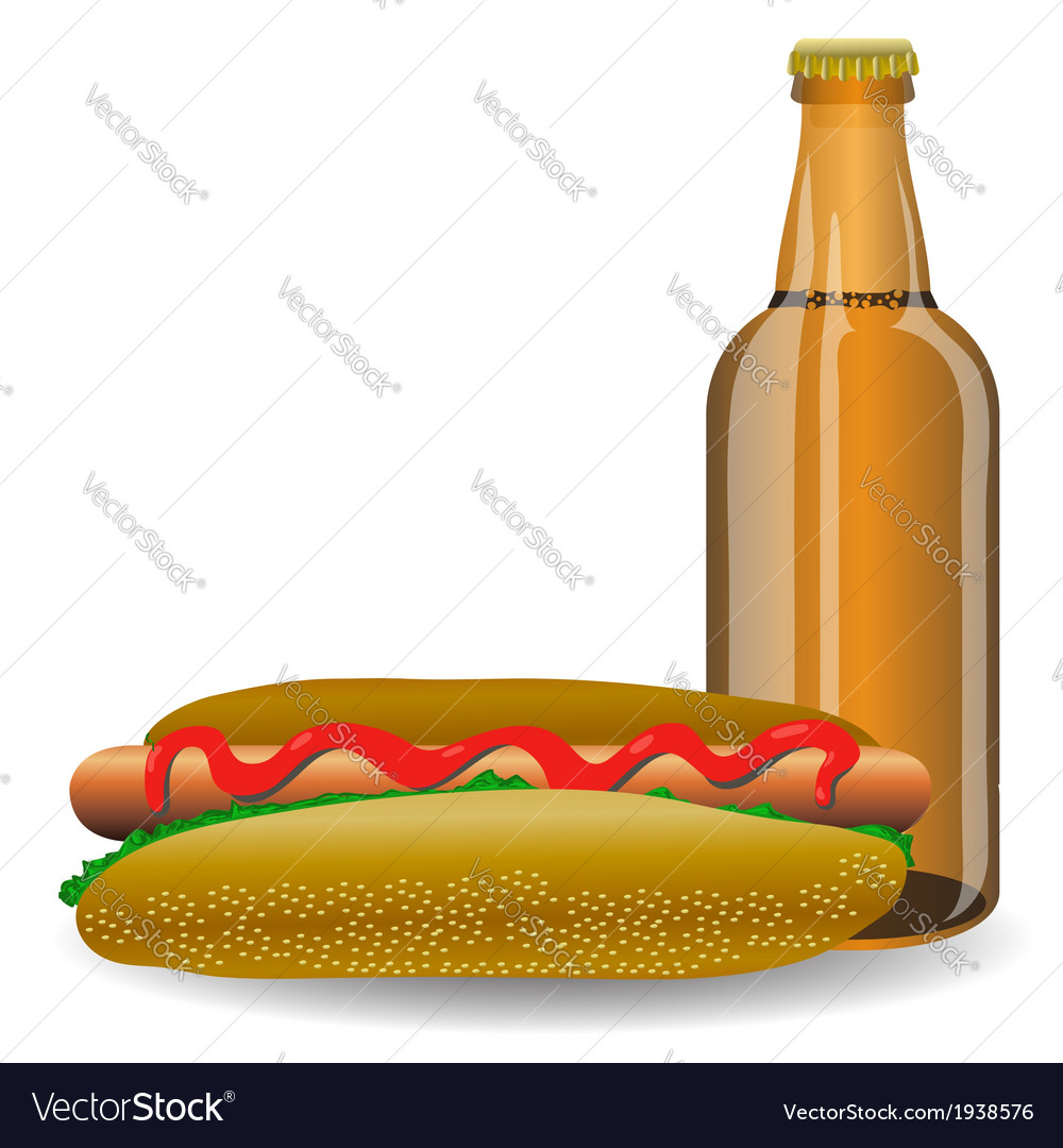 Hot dog and bottle of beer vector | Price: 1 Credit (USD $1)