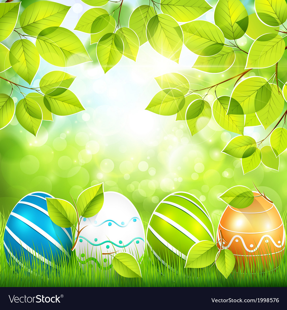 Natural background with easter eggs vector | Price: 1 Credit (USD $1)