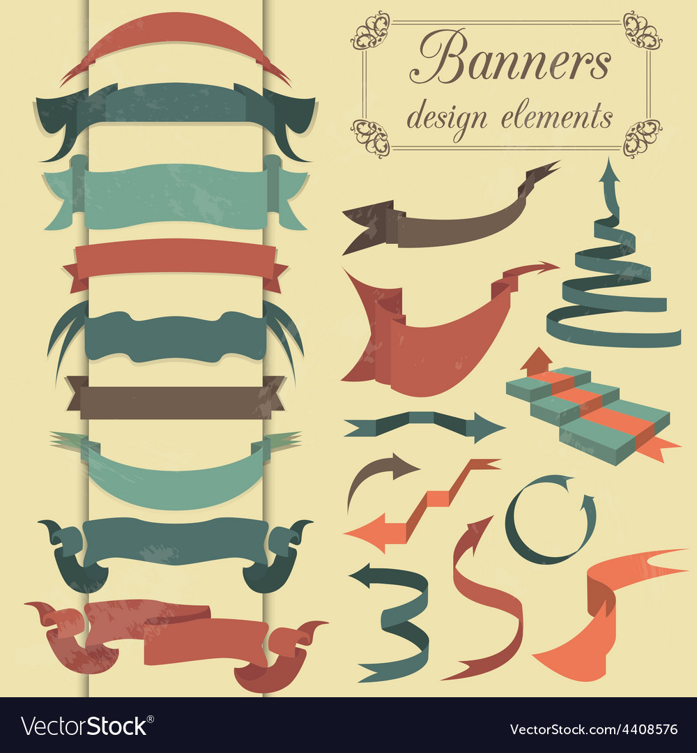 Set of retro ribbons and arrows banner vector | Price: 1 Credit (USD $1)