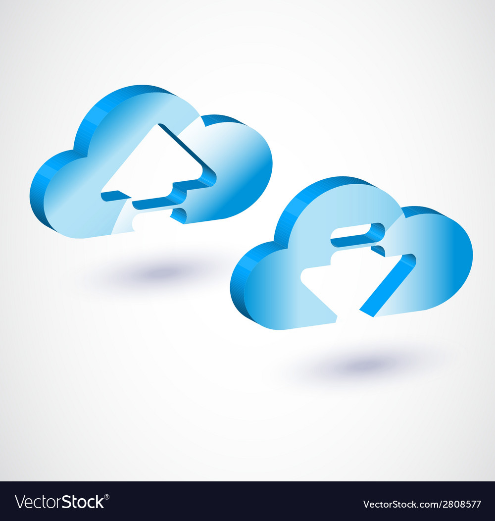 3d cloud upload vector | Price: 1 Credit (USD $1)