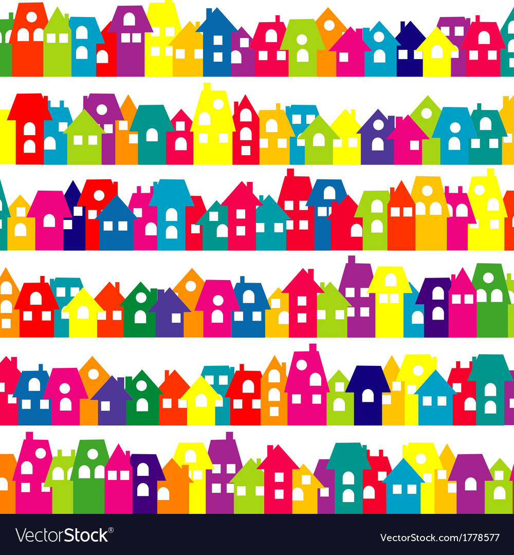 Background with colored doodle houses vector   Price: 1 Credit (USD $1)