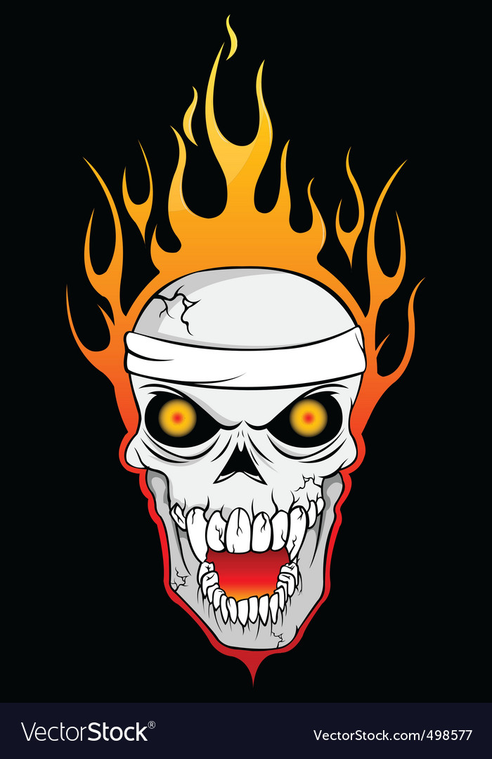 Burning skull vector | Price: 1 Credit (USD $1)
