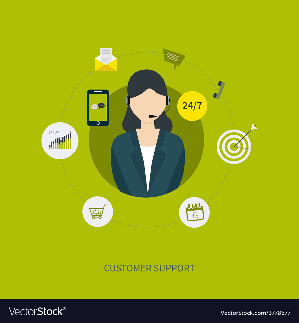 Business customer care service concept flat icons vector | Price: 1 Credit (USD $1)