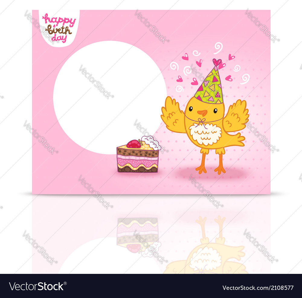 Cute happy birthday postcard template with a bird vector | Price: 1 Credit (USD $1)