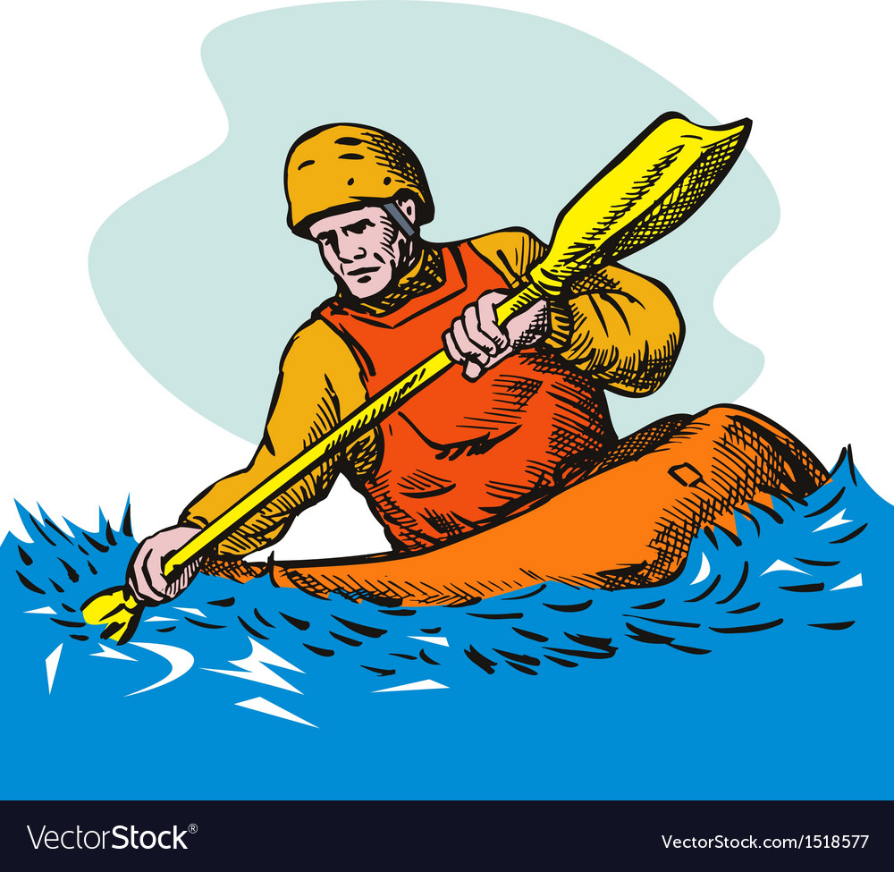 Kayak paddler vector | Price: 1 Credit (USD $1)