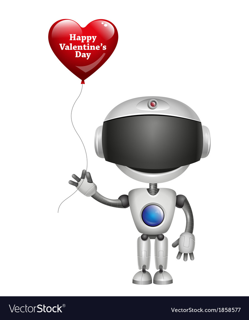 Robot with balloon heart vector   Price: 1 Credit (USD $1)