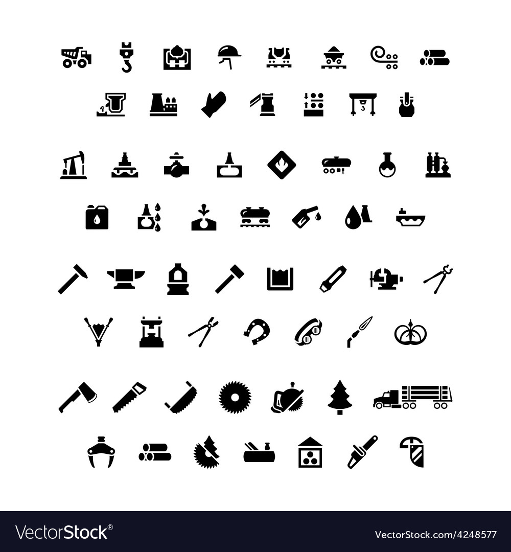 Set icons of industry vector | Price: 1 Credit (USD $1)