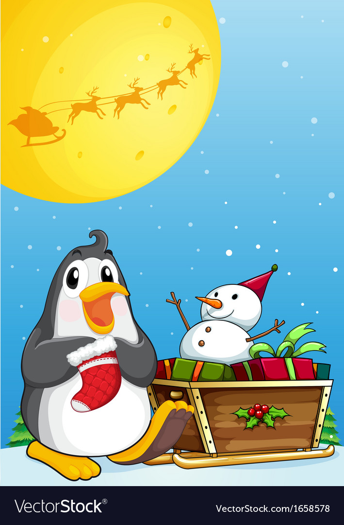 A penguin near the sleigh with a snowman vector | Price: 3 Credit (USD $3)