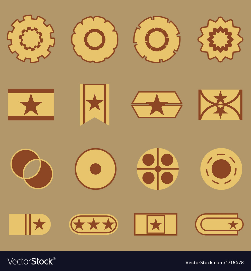 Create vintage banner color icons vector | Price: 1 Credit (USD $1)