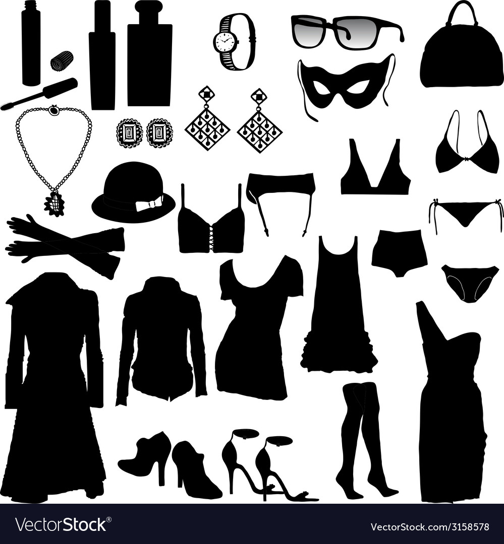 Decorative and feminine clothing items vector | Price: 1 Credit (USD $1)