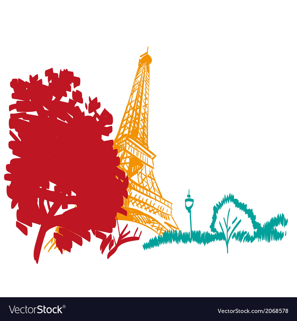 Eiffel tower hand drawn paris vector | Price: 1 Credit (USD $1)