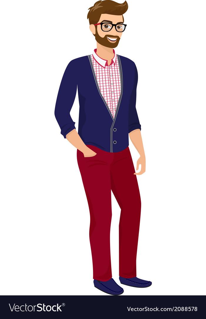 Hipster guy isolated vector | Price: 1 Credit (USD $1)