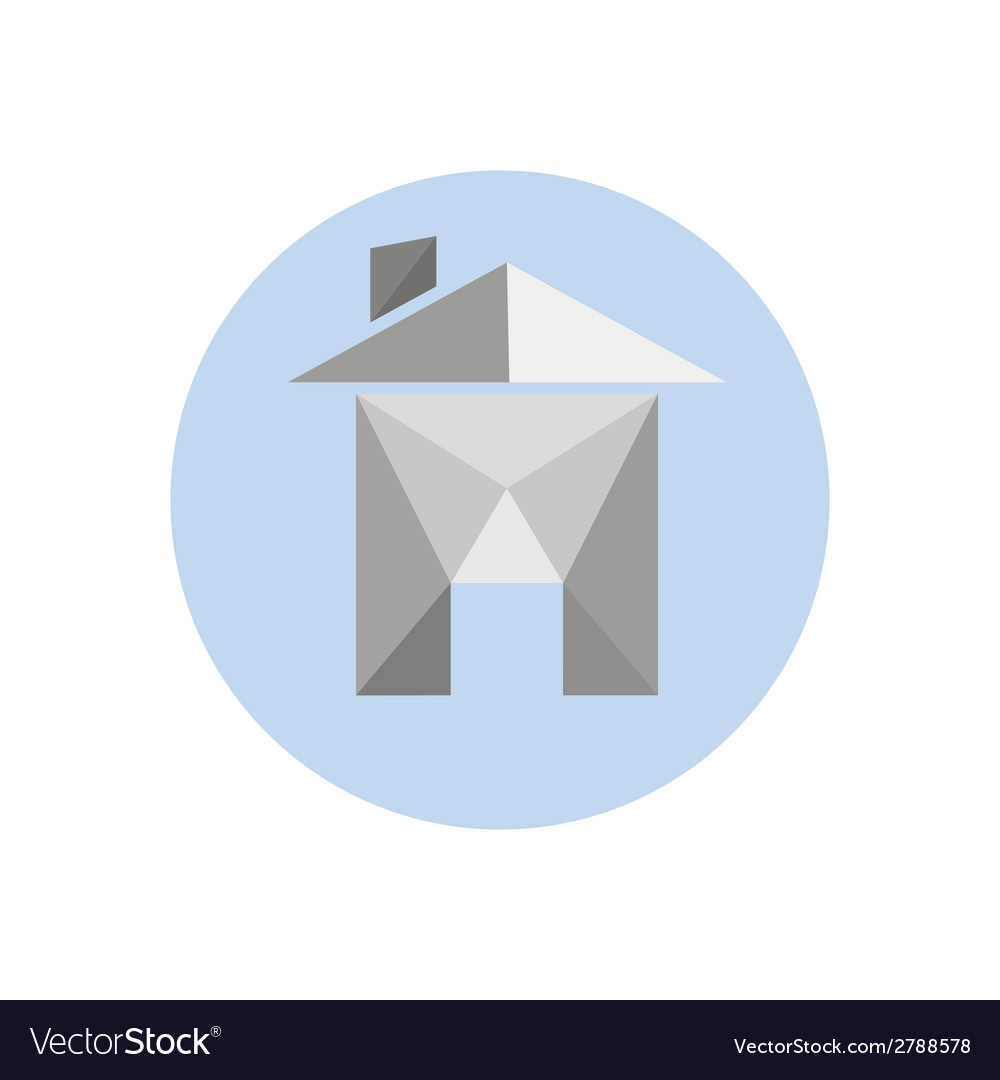 Origami paper house isolated on white background vector | Price: 1 Credit (USD $1)