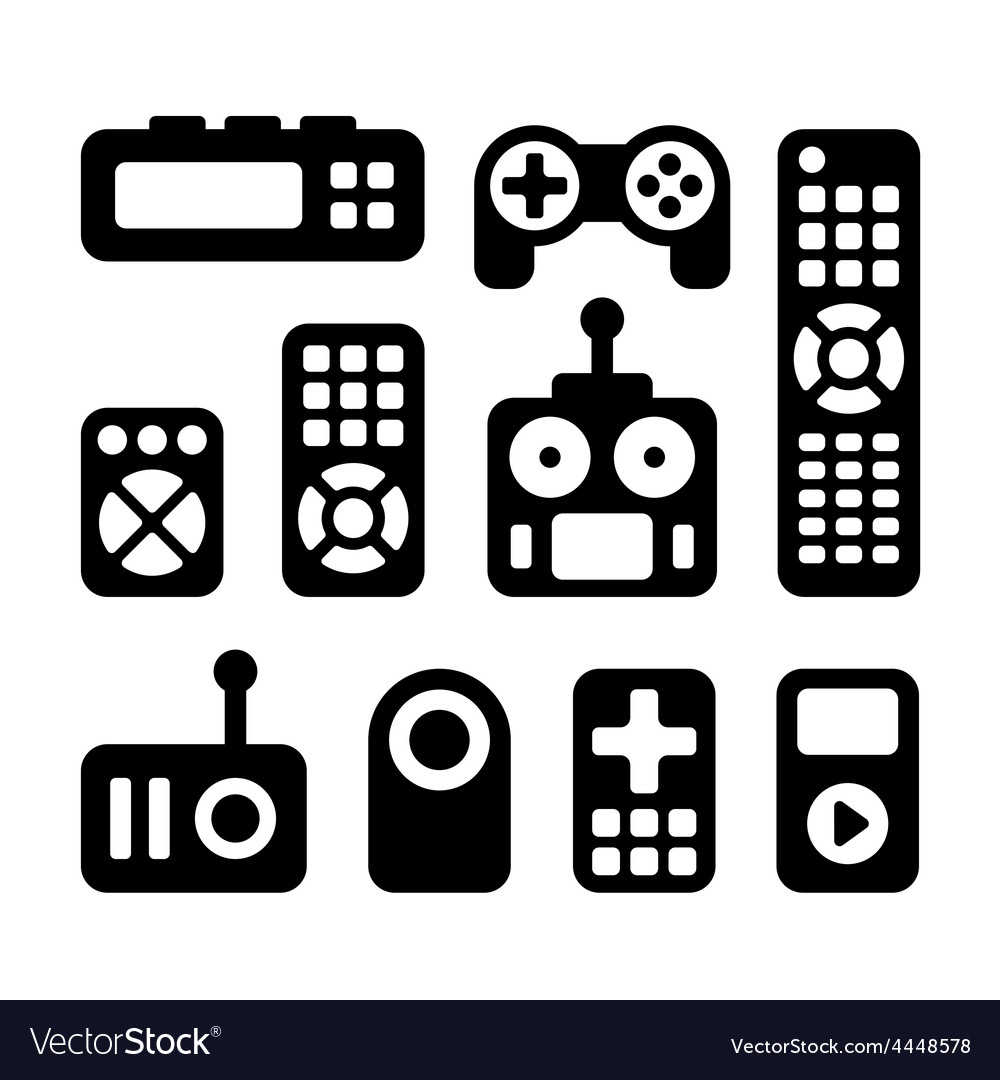 Remote control icons set vector