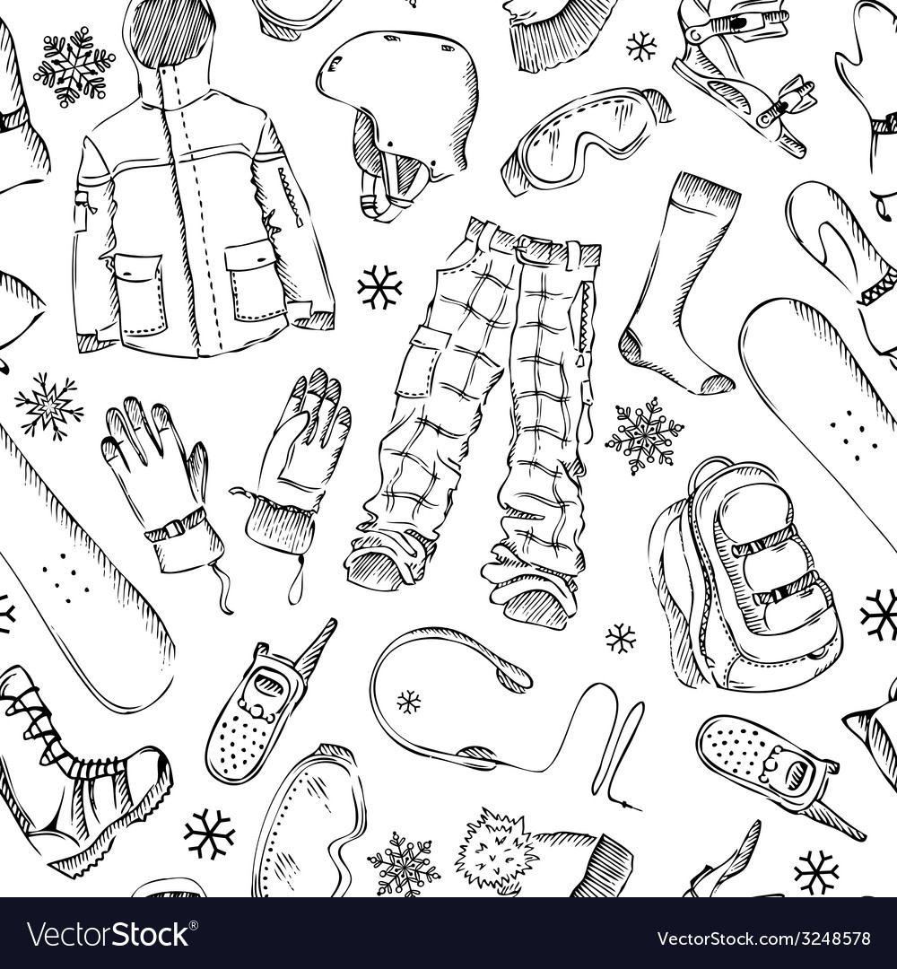 Seamless pencil pattern of snowboard gear vector | Price: 1 Credit (USD $1)