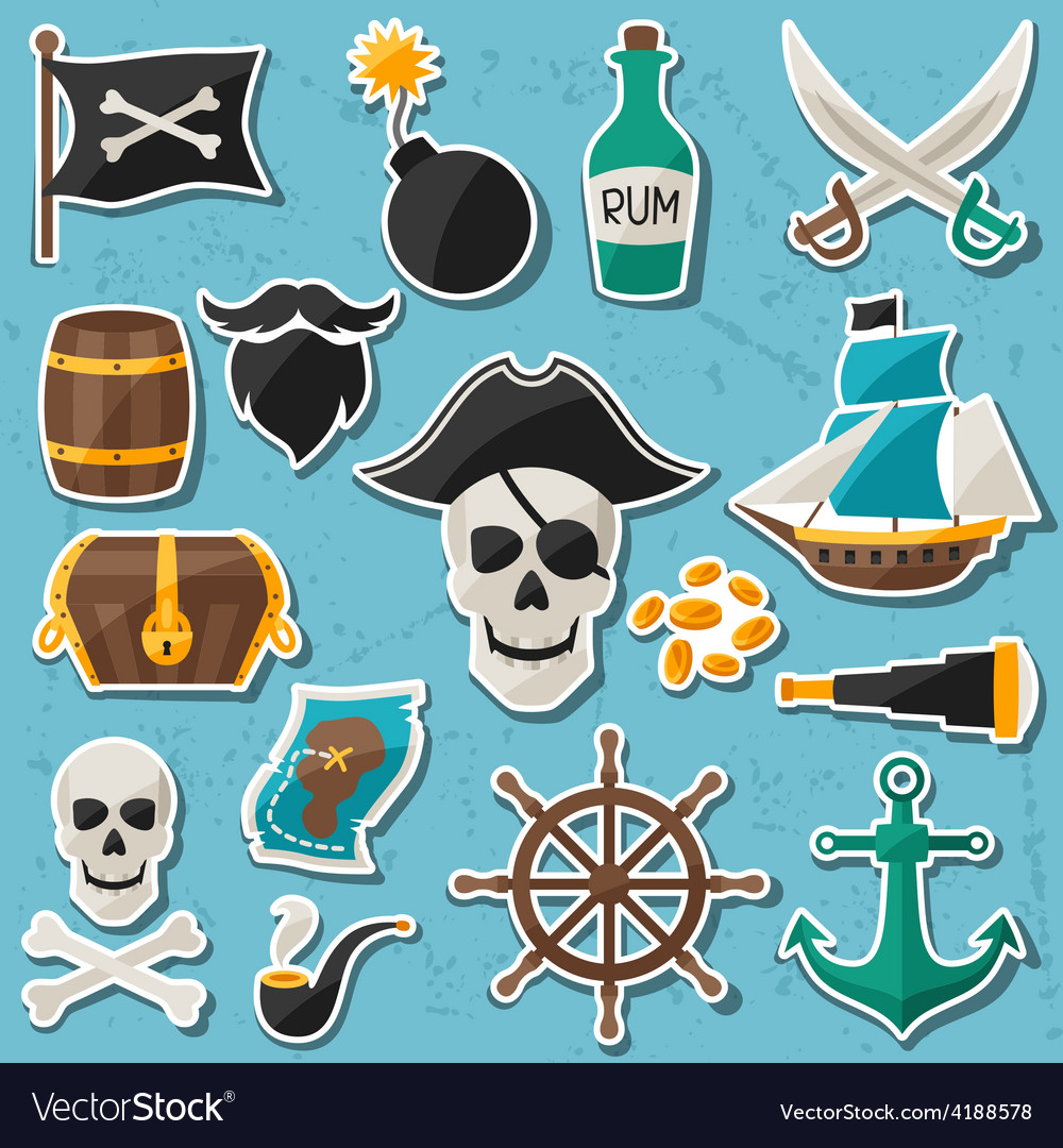 Set of stickers and objects on pirate theme vector | Price: 1 Credit (USD $1)