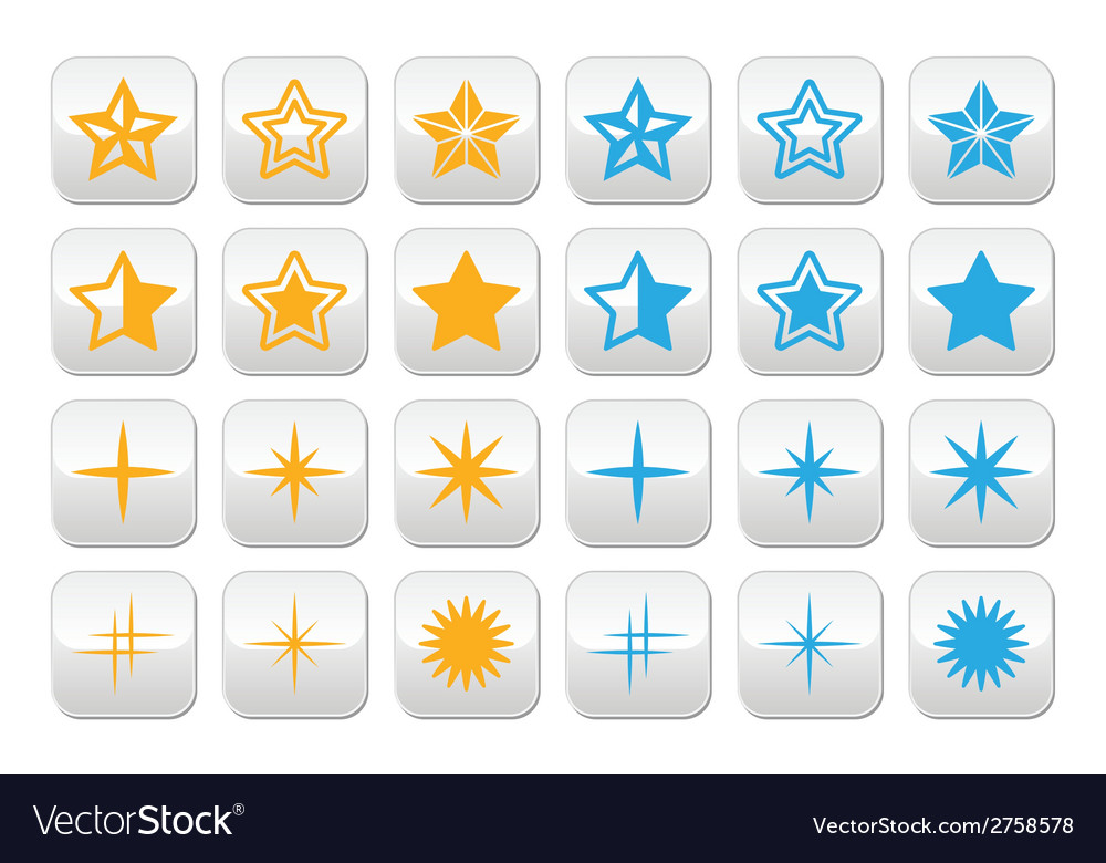 Stars yellow and blue stars buttons set vector | Price: 1 Credit (USD $1)