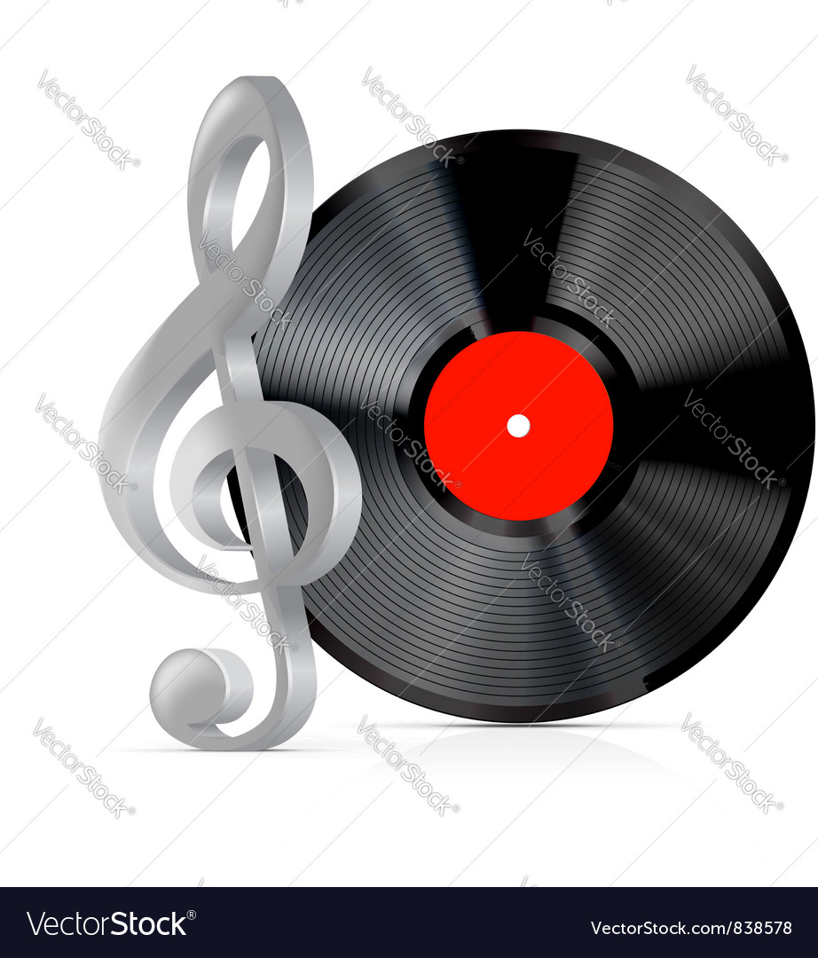 Vinyl record plate with treble clef vector | Price: 1 Credit (USD $1)