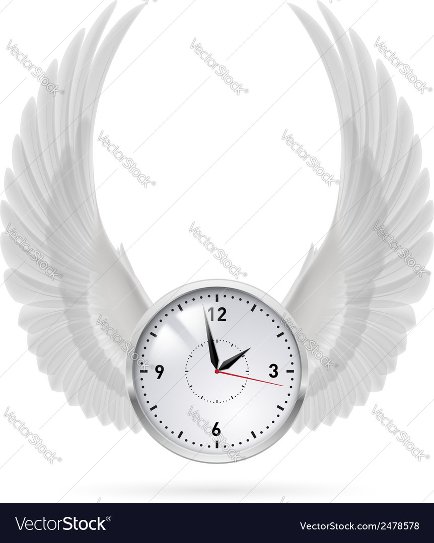 White clock white wings vector | Price: 1 Credit (USD $1)