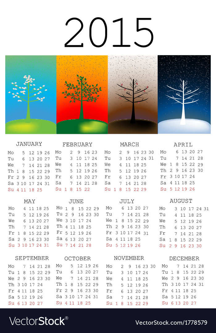 2015 calendar with seasons vector | Price: 1 Credit (USD $1)